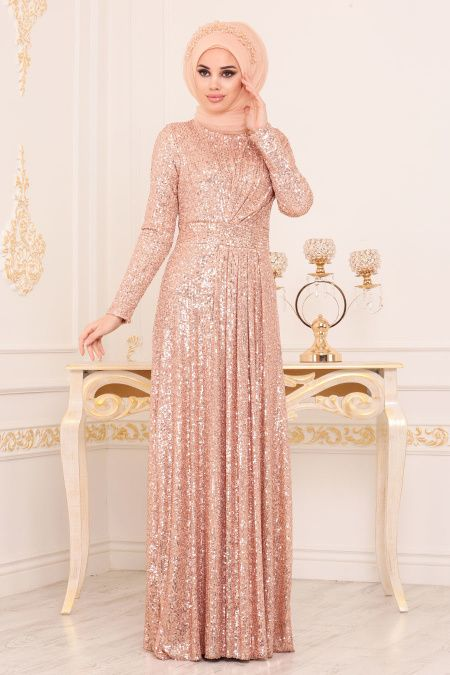 Nayla Collection Nayla Collection Pul Payetli Gold Tesettur Abiye Elbise 9106gold Aksamustu Giysileri The Dress Elbise