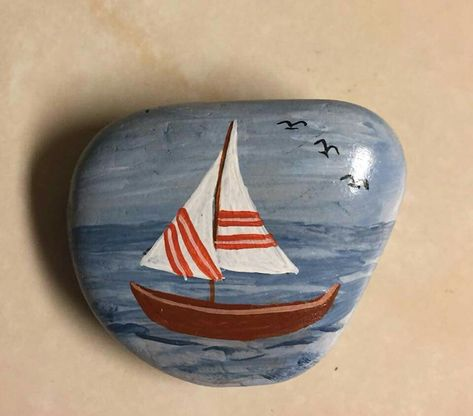 53 Boats Ideas Painted Rocks Stone Painting Stone Art