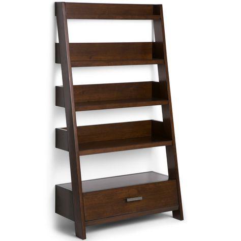 Simpli Home Deanna Ladder Book Shelf Medium Auburn Brown Wood