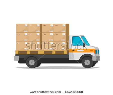 Stock Photo Delivery Truck Isolated With Parcel Cargo Boxes