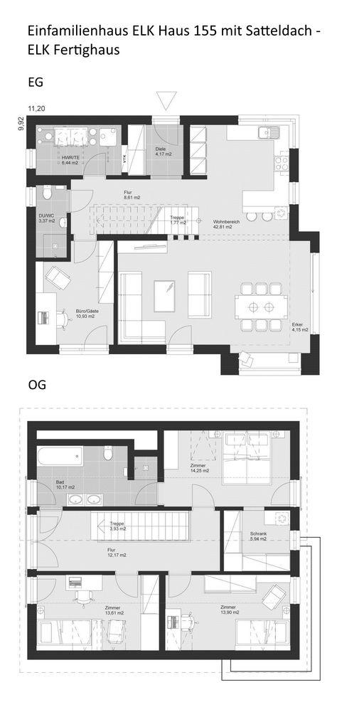 Grundriss Einfamilienhaus Landhausstil Mit Satteldach Architektur 5 Zimmer 156 Qm Gerade Treppe Erdgeschoss Offen Obergeschoss Fertighaus Grundrisse