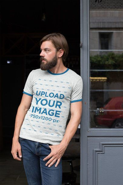 Download Placeit Ringer T Shirt Mockup Of A Hipster Man With His Hand In His Pocket Shirt Mockup Tshirt Mockup Hipster Man