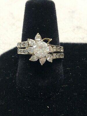Ebay Ad Vintage 10k Gold Cz Bridal Engagement Wedding Ring Set Size 5 5 In 2020 Engagement Wedding Ring Sets Wedding Rings Engagement Wedding Ring Sets