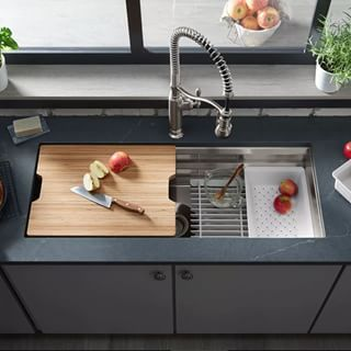 Pin On A Nice Places To Go Kohler sink with cutting board