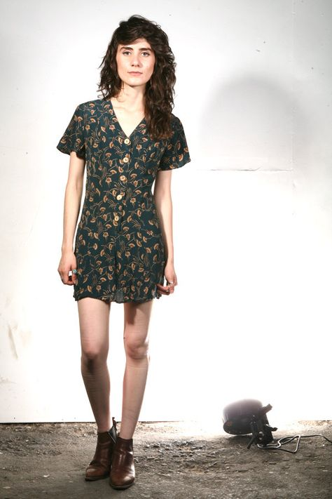 7cc38a4bc1aa 90s GRUNGE floral dress ROMPER button down