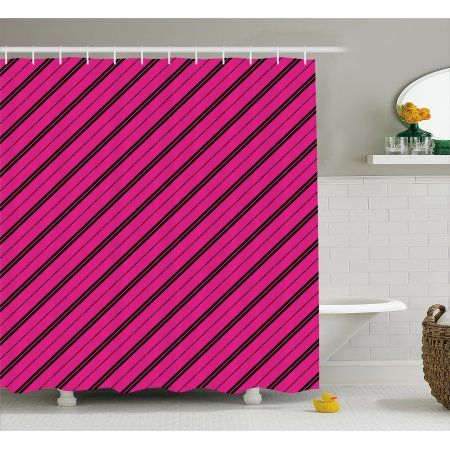 Hot Pink Shower Curtain Diagonal Lines Black Stripes On Pink