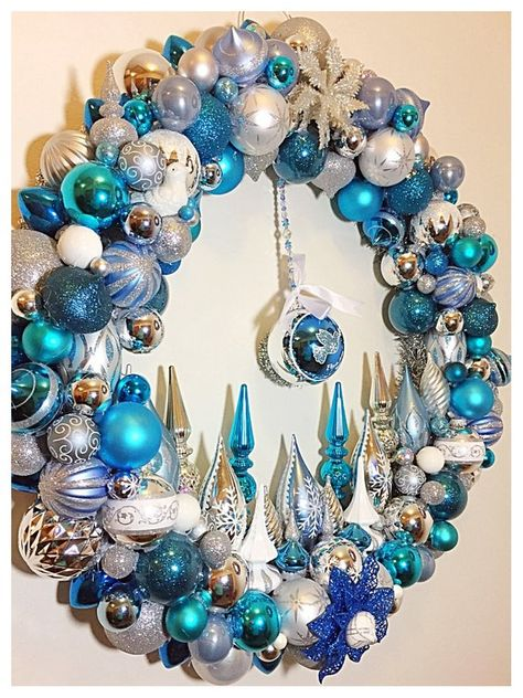 Christmas Bulb Wreath, silver, blue wreath, OOAK Handmade Wreath,  Frozen Colors, Large Christmas De