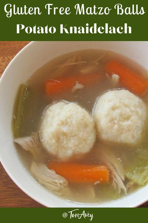 Gluten Free Matzo Balls - Gluten free matzo ball recipe, made with potatoes like German potato knaidelach. | ToriAvey.com #matzoballs #glutenfreepassover #kosherforpassover #passover #pesach #glutenfreematzoball #glutenfree #matzoballsoup #knaidelach #TorisKitchen
