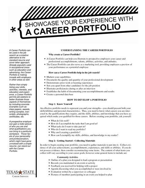 sample of portfolio outline Career Portfolio Handout Job