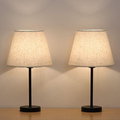 2pcs Minimalist Solid Wood Table Lamp Bedside Nightstand Lamp Linen Fabric Shade