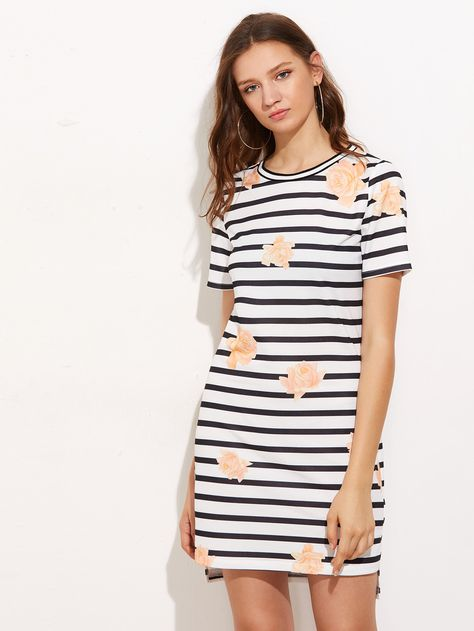 Shop Flower And Stripe Print Tee Dress online. SheIn offers Flower And Stripe Print Tee Dress & more to fit your fashionable needs.