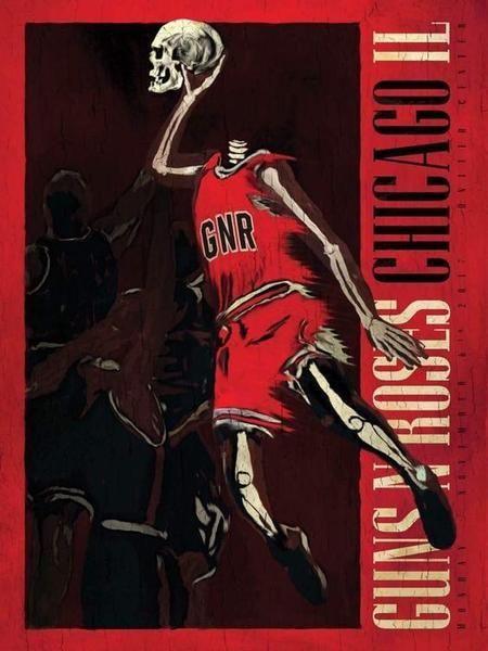 Guns N Roses United Center Chicago Bulls Michael Jordan Poster xxx/300 11/6/17