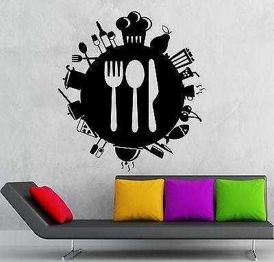 Medium,Black Kitchen Utensils Restaurant Food Wall Art Stickers Decals Vinyl Home Room Decor