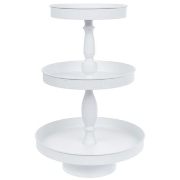 White Three Tiered Metal Tray In 2020 Metal Trays Tiered Tray Decor Tiered Tray Diy