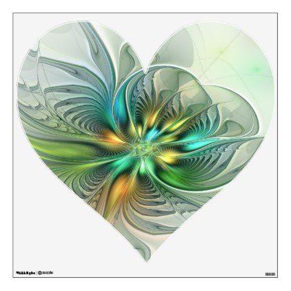 Colorful Fantasy Abstract Flower Fractal Art Heart Wall Decal Zazzle Com Heart Wall Decal Abstract Flowers Fractal Art