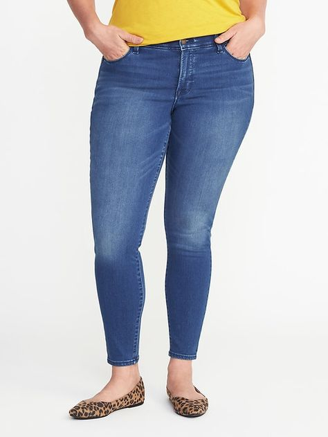 5636dd734fcfff Old Navy Smooth & Contour Plus-Size Secret-Soft Rockstar Jeans