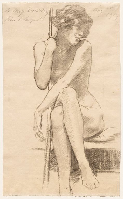 John Singer Sargent (American, Female Nude Seated on a Low Bench, charcoal Human Figure Drawing, Figure Sketching, Figure Drawing Reference, Body Drawing, Life Drawing, John Singer Sargent, Figure Painting, Painting & Drawing, Art Sketches
