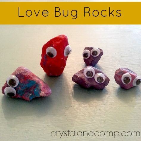 summer activity for kids: love bug rocks