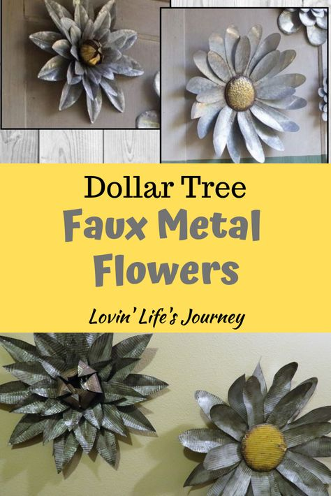 Make these high end metal flowers with items for just a few dollars using baking sheets from Dollar Tree! Make these high end metal flowers with items for just a few dollars using baking sheets from Dollar Tree! Metal Wall Flowers, Tin Flowers, Metal Tree Wall Art, Faux Flowers, Diy Wall Flowers, Shabby Chic Flowers, Flower Petals, Tin Can Crafts, Metal Crafts