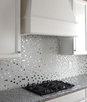 Modern White Glass Metal Kitchen Backsplash Tile Backsplash Com