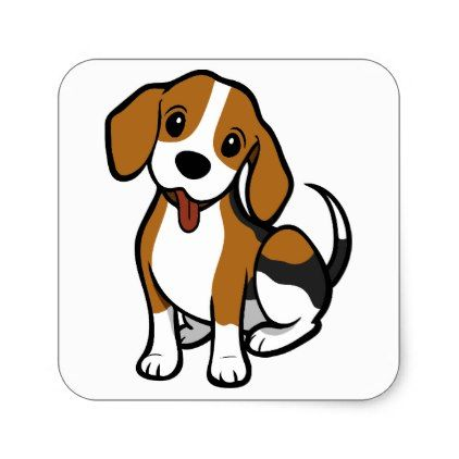 Beagle Puppy Dog Black Thank You Canine Square Sticker Beagle