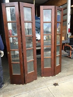 One Pair Antique 5 Foot Wide Beveled Glass Bifold Doors French Doors Glass Bifold Doors Folding French Doors