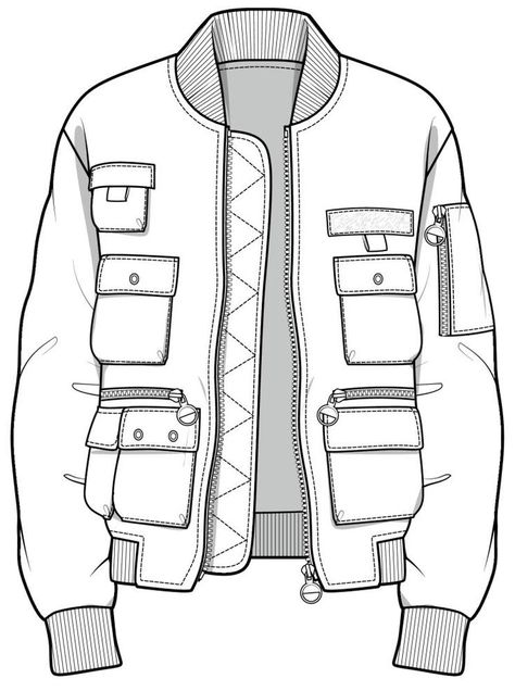 CAD illustration of jacket with several pockets Ylime xxx - Sketch Templates - Ideas of Sketch Templates #SketchTemplates -  CAD illustration of jacket with several pockets Ylime xxx