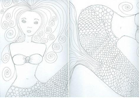 mermaid  printable art coloring pages mermaid