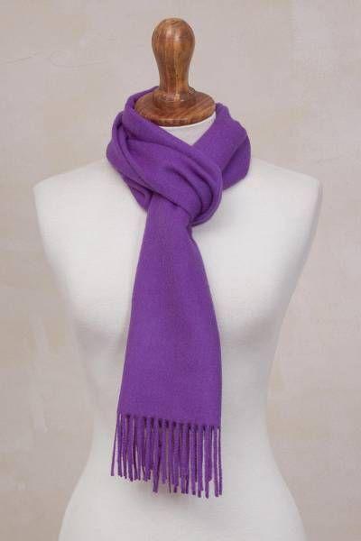 100 Baby Alpaca Imperial Purple Scarf Imperial Embrace Alpaca Scarf Baby Alpaca Purple Scarves
