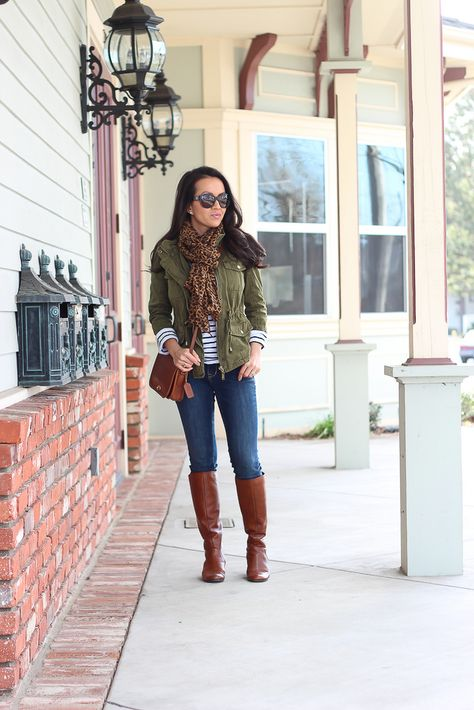 Forever 21 utility jacket, leopard scarf, Coach crossbody, BP runway cognac boots, Old Navy petite rockstar jeans_
