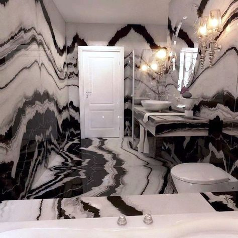 Panda white marble bathroom with white door Think Sheet, White Marble Bathrooms, House Front Design, Bathroom Design Luxury, White Doors, Dream Decor, Home Decor Kitchen, Ceiling Design, Home Decor Furniture