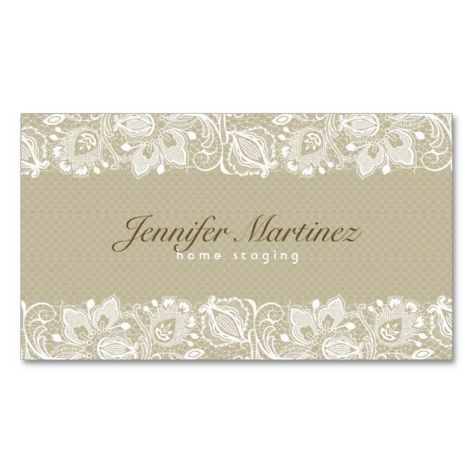 Elegant Beige & White Vintage Floral Lace Business Card | Zazzle.com