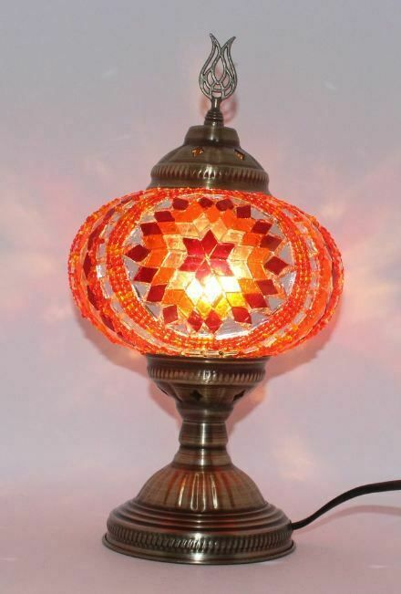 Table Mosaic Lamp Turkish Moroccan Large Glass Handmade Multi