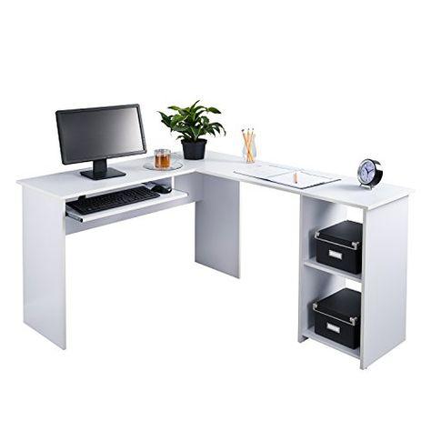 Fineboard L Shaped Office Corner Desk 2 Side Shelves White Corner Desk Office Corner Desk Home Office Furniture