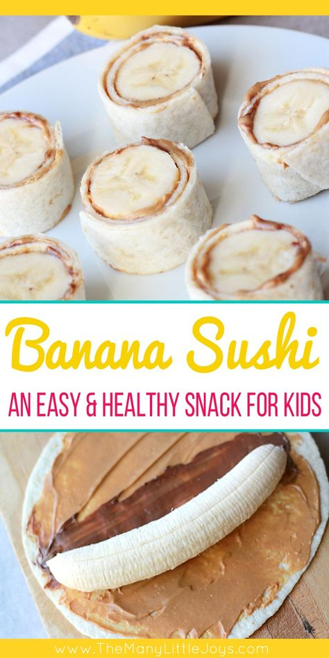 After school snacks are essential at our house. This quick and easy, protein-rich banana sushi is a favorite healthy snack your little monkeys will love! Snacks for kids Banana Sushi (a fun & healthy snack for kids) - The Many Little Joys Good Healthy Snacks, Healthy Drinks, Healthy Snacks For Toddlers, Protein Snacks For Kids, Healthy Snacks For School, Quick And Easy Snacks, Snack Ideas For Kids, Easy Toddler Snacks, Kids Dinner Ideas Healthy
