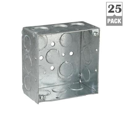 Steel City 2 Gang 4 In 30 3 Cu In New Work Metallic Square Electrical Box Case Of 25 Steel Metal Galvanized Steel