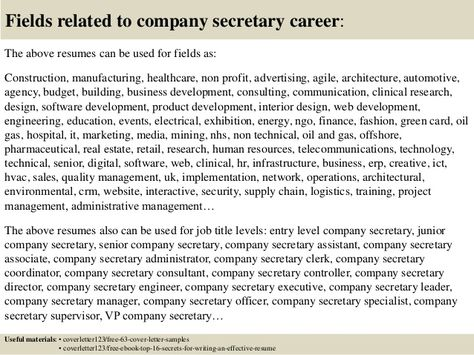 Top Company Secretary Cover Letter Samples Sample Fundraising