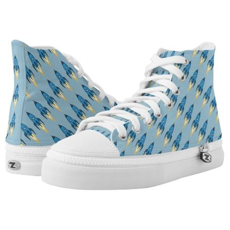 Blue Cartoon Rocket Ship Pattern Outer Space Funny High-Top Sneakers | Zazzle.com