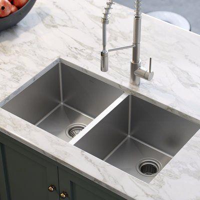 Kraus Standart 33 L X 19 W Double Basin Undermount Kitchen Sink With Drain Assembly Undermount Kitchen Sinks Stainless Steel Kitchen Sink Double Basin