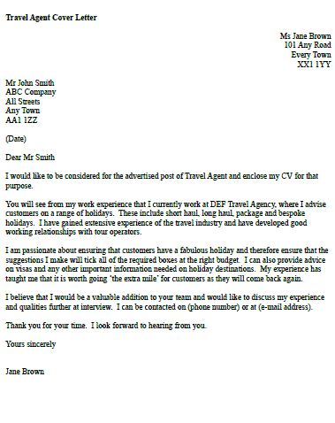 Travel Agent Cover Letter Example Useful stuff Cover letter