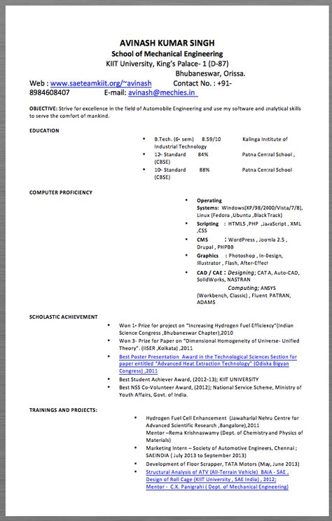 Automotive Engineering Resume Example AVINASH KUMAR SINGH School - concierge resume