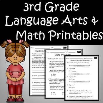 3rd Grade Ela Language Arts Math Printables Assessments Common