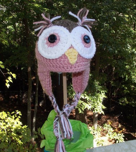 Owl Ear Flap Hat ... Dusty Rose Pink and by sweetpeacollections, $20.00