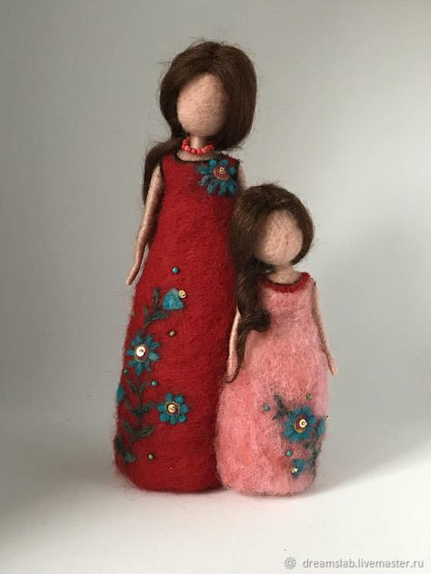 Buy Needle felted doll - felting, art doll, gift, doll, pink, red