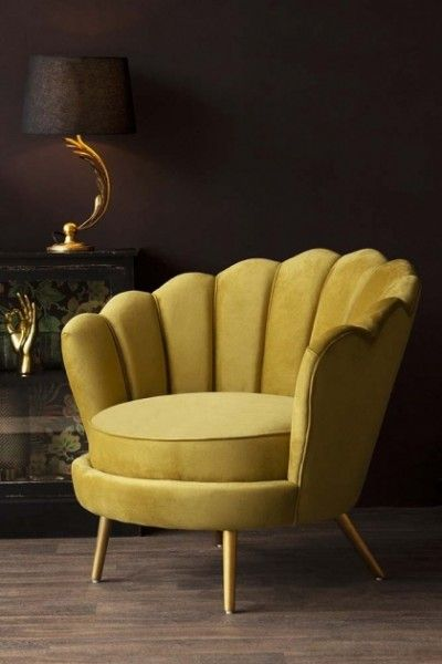 Ochre Gold Velvet Petal Occasional Chair Occasional Chairs Living Room Elegant Chair Gold Dining Room Chair