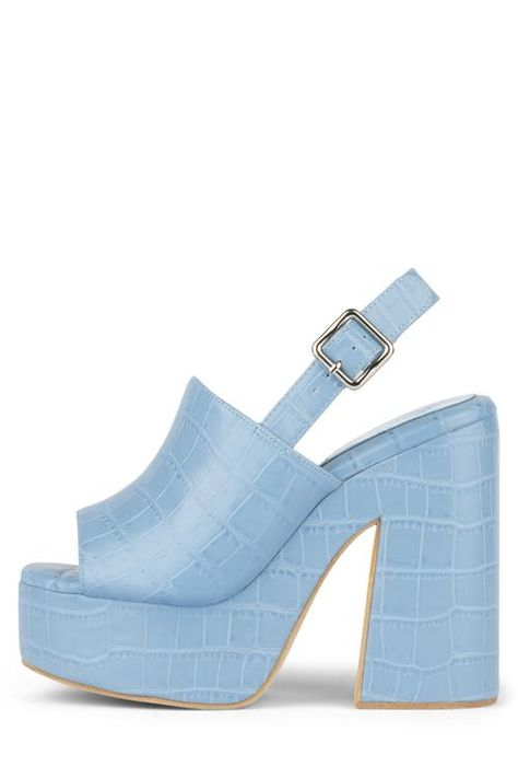 Platform sling-back sandal. Fits true to size Measurements taken from a size 7 Synthetic Upper, Leather Lining, Synthetic Sole heel, platform Buckle closure Dream Shoes, Crazy Shoes, Funky Shoes, Cute Shoes, Me Too Shoes, Kawaii Shoes, Buckle Outfits, American Eagle Outfits, Aesthetic Shoes