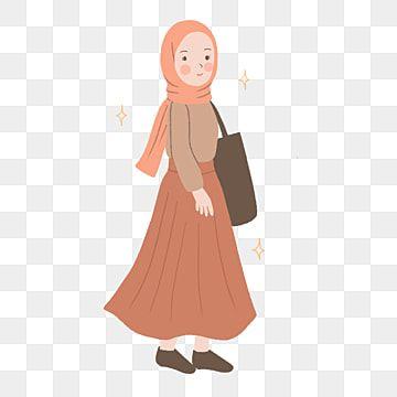 Gambar Gadis Berhijab Mengenakan Baju Berwarna Orange Dengan Ilustrasi Rok Gadis Clipart Ilustrasi Moeslem Png Transparan Clipart Dan File Psd Untuk Unduh Gr Girls Illustration Hijab Cartoon Illustration Art Girl