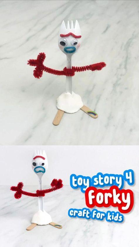 #artisanat #Bricolage #enfants #jouet #pour DIY Forky Toy Craft For Kids Disney Craft For Kids | Apprenez à fabriquer ce jouet Forky simple et amusant à partir de Toy Story 4 de Disney Pixar! C'est une activité facile pour les enfants de tous âges, de la maternelle à la maternelle, en passant par les élèves du primaire, et c'est formidable pour les fans de Disney !! #des gamins #kidscrafts #craftsforkids