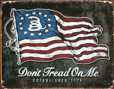 Don/'t Tread on Me Tin Metal Sign Decor 1776 Flag America Vintage Look NEW