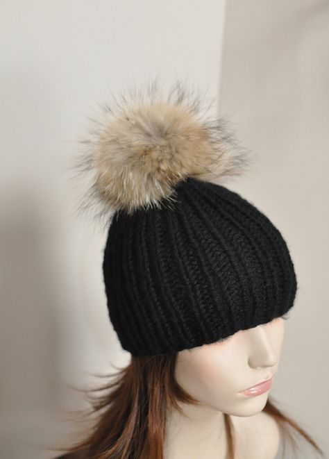 0b0aaa6f552 Fur PomPom Beanie 100% CASHMERE Chunky Knit Beanie Hat Fur pompom Ribbed  Beanie Black Hat Double Bobbles Black hat Christmas Gift by lucymir on Etsy